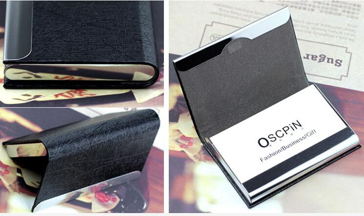 Customized Personalised business leather card holder wallet for men