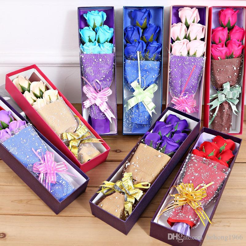 Savon artificiel roses avec petits ours en peluche mignon en boîte délicate Cinq fleurs immortelles ou trois fleurs et ours 8 8HR F r