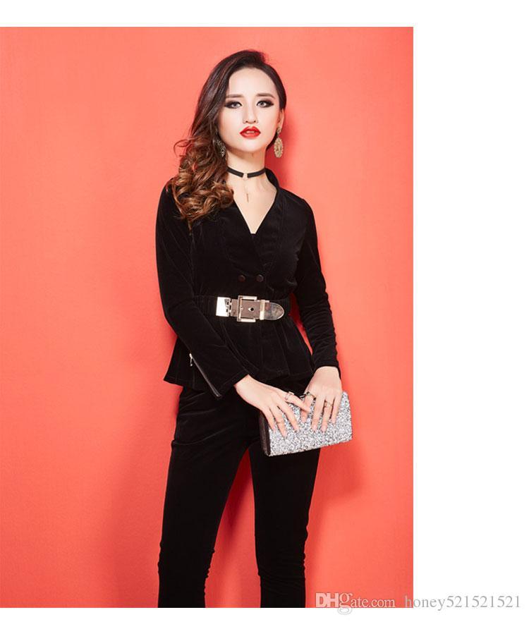 Осенью новая мода женщины с длинным рукавом пояс тонкой талии Blazer пальто и карандаша длинных брюки 2 шт TwinSet сексуального плюса размера костюм