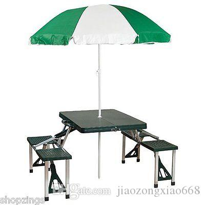 Portable folding picnic table with umbrella camping park beach portable folding picnic table with umbrella camping park beach outdoor suitcase tables online with 4728piece on jiaozongxiao668s store dhgate watchthetrailerfo
