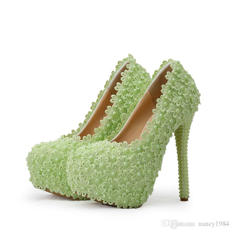 진주 높은 뒤꿈치 신발 아름다운 웨딩 파티 신발 신부 하이힐 신부 들러리 신발 화이트 / 그린 / 핑크 레이스 꽃