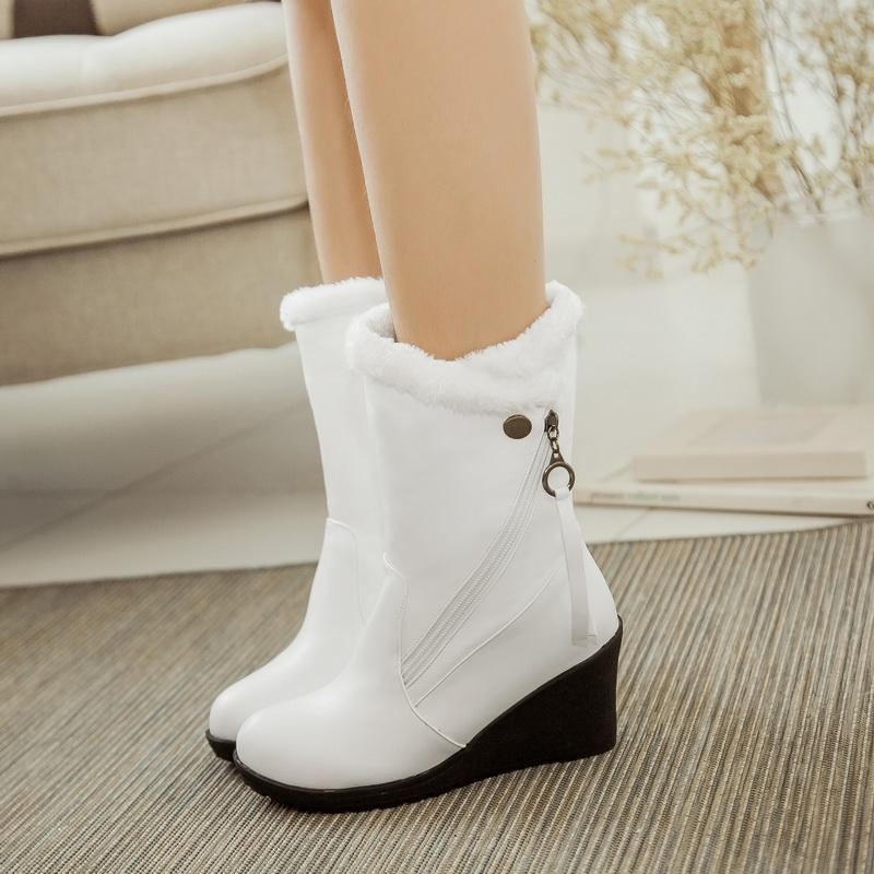 129afe58f52 Wholesale New Fashion Women Boots Snow Wedge Heels Winter Boots Fur  Platform Shoes Woman Autumn Winter Shoes White Red Black Boots Female  Combat Boots For ...
