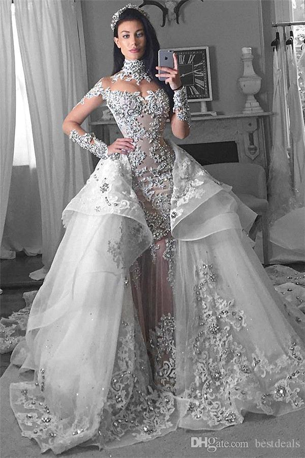2018 Luxo Árabe Vestidos de Noiva com Trem Destacável de Alta Neck Sheer Mangas Compridas Appliqued Cristal Lace Catedral Trem Vestidos de Noiva