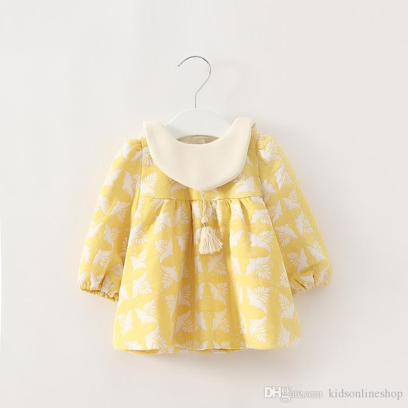 c66629ad87996 2017 New Summer & autumn Baby girls dress Adorable Floral Printed Doll  Collar Long Sleeve Dress for Baby Girls