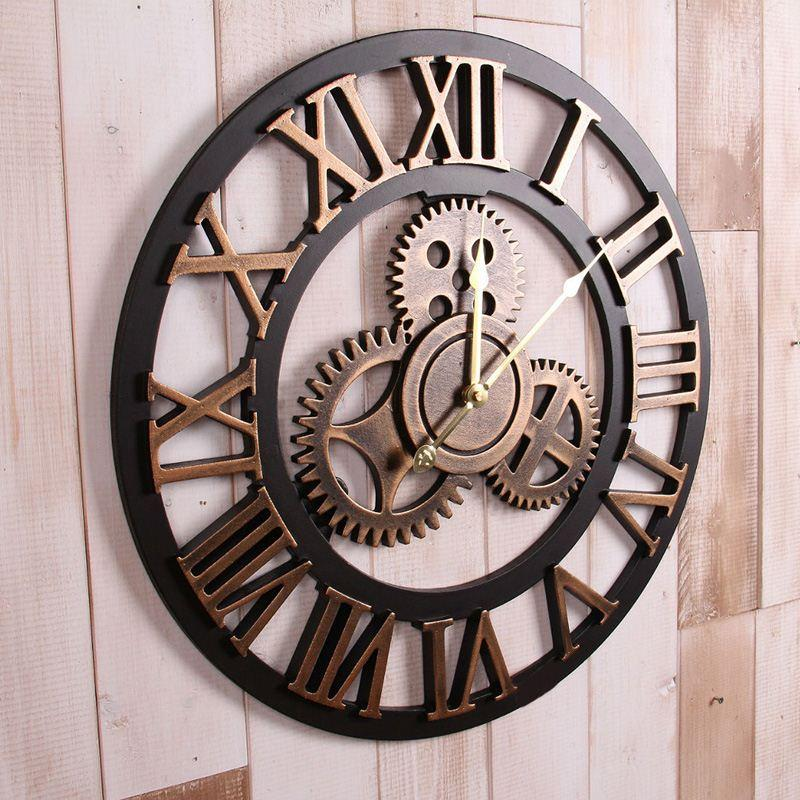 Incroyable Handmade Oversized 3d Retro Rustic Decorative Luxury Art Big Gear Wooden  Vintage Large Wall Clock On The Wall For Gift Mty3 Extra Large Decorative  Wall ...