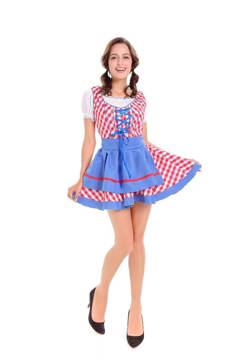 Beer Girl Plaid Mini Dress German Oktoberfest Sexy Maid Cosplay Performance Uniforms Halloween Women Bavarian Costume