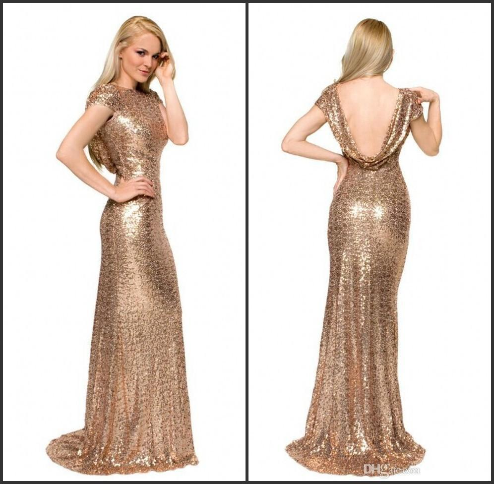 2016 Gold Sequins Blingbling Party Dresses Long Mermaid Prom Dresses ...