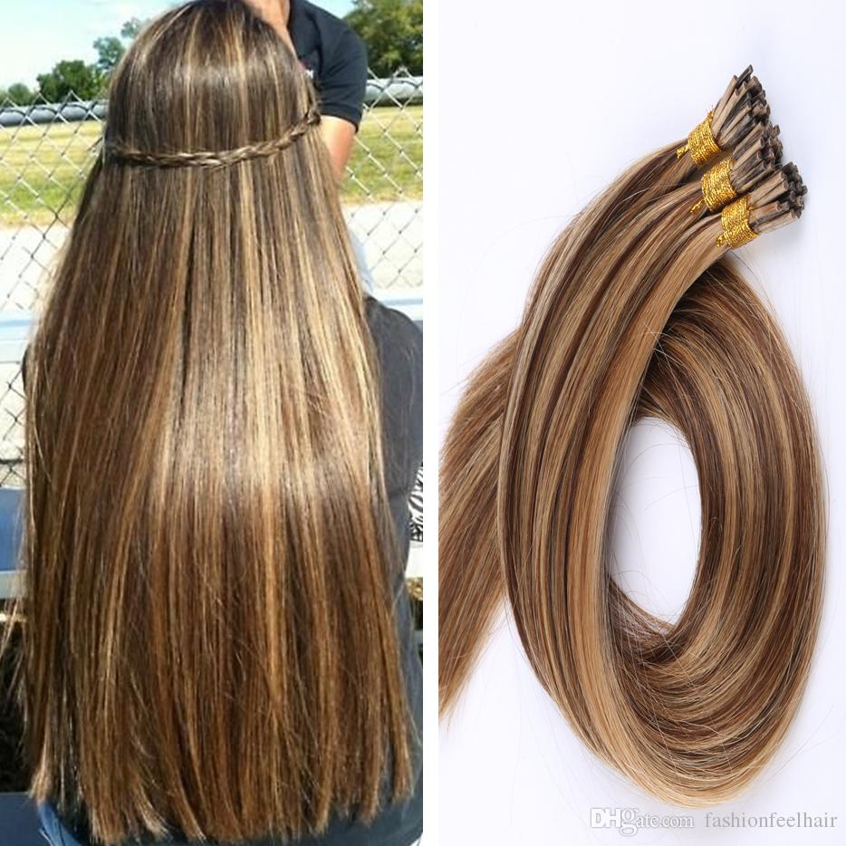1gs 100g Human Hair Ash Brown Platinum Blonde Straight Custom