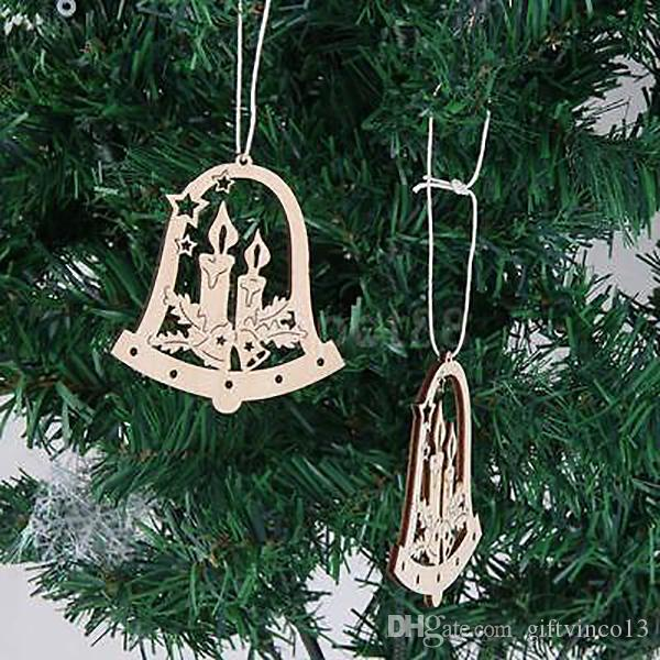 wholesale laser cut wood hanging ornament santa claus snowflake bell ornaments wood embellishment christmas tree decoration party decorating buy xmas