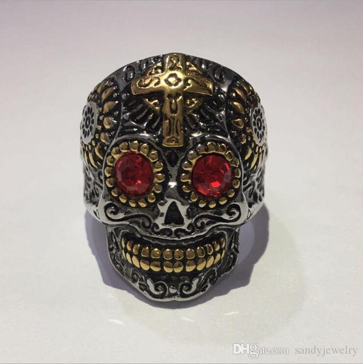 Fashion Jewelry Biker Mens Gothic Skull Stainless Steel Ring, gold, Black Silver US Size 7-14 Drop