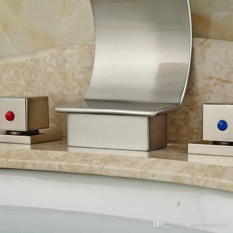 Dual Square Handles Bathroom Basin Faucet Deck Mounted Sink Mixer Nickel Brushed