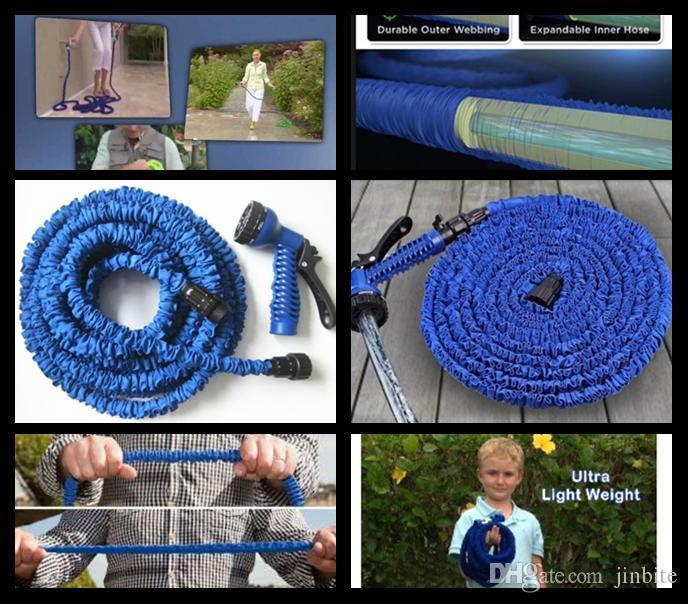 Высокое качество 50 футов выдвижной шланг / расширяемый садовый шланг синий зеленый цвет быстрый разъем водный шланг с водяным пистолетом OM-D9