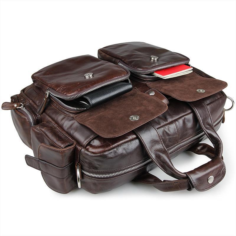 NIUBOA 100% borse in vera pelle vintage uomini borsa a tracolla in pelle di vacchetta borsa da viaggio in pelle messenger molte tasche borsa del computer portatile uomo