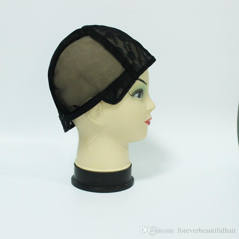 Black color wig Full cap net Jewish Base wig caps for making wigs Glueless lace Wig Caps Adjustable Strap On the Back