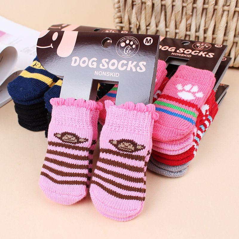 Hot pet dog cat meias quentes para o inverno filhote de cachorro bonito cães de algodão macio anti-derrapante malha tecer meia skid inferior cat cat meias roupas 4 pçs / set