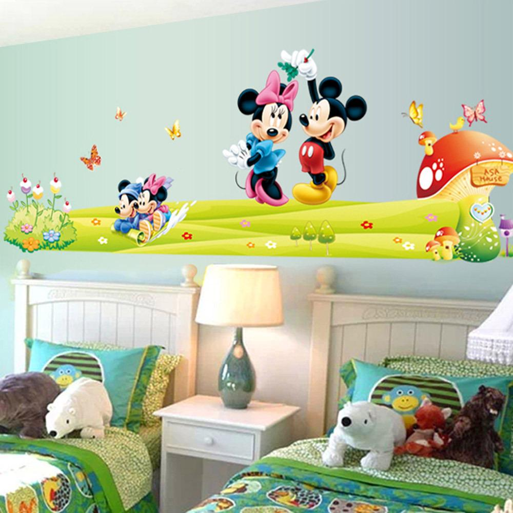 Mickey Mouse Cartoon Wall Stickers Indoor Wall Stick Kindergarten ...