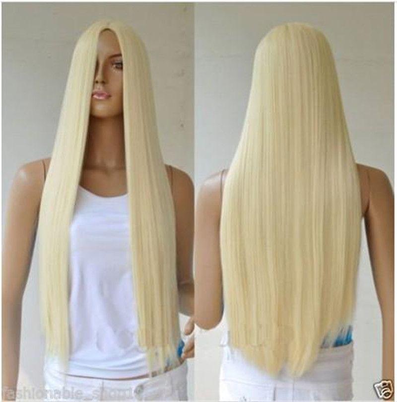 Woodfestival Harajuku Cosplay Wig Long Straight Blonde Wig