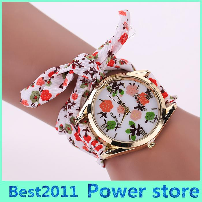 new girls cloth floral fashion watch ladies chiffon fabric watches sweet women brand dress product geneva