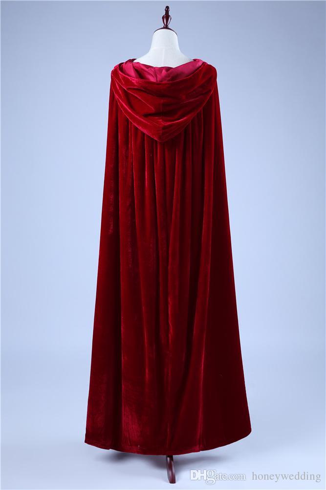 Boże Narodzenie Kapturem Płaszcze Burgundii Wino Czerwone Ślubne Capes Tanie W magazynie Prawdziwe zdjęcie Akcesoria Bridal Halloween Cloak