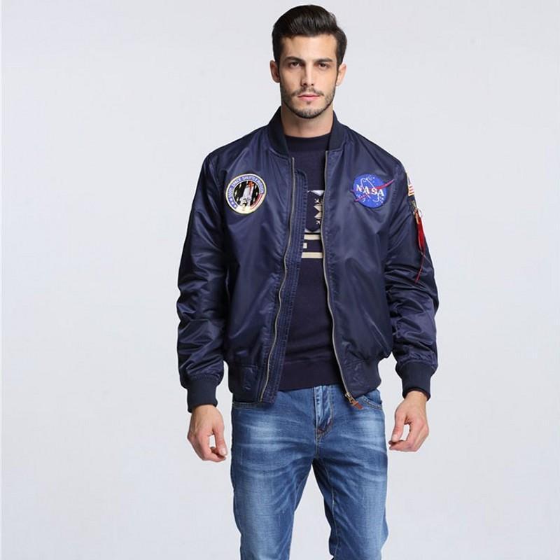 a4e567331 Wholesale- High Quality Navy flying jacket,Nylon Winter varsity american  college bomber flight jacket for men