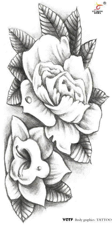 Großhandel Temporäre Große Arm Tattoo Aufkleber Schwarz Weiße Blume ...