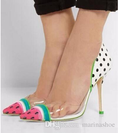 2016 Cute Pom Pom Watermelon Pointed Toe High Heel Shoes Woman ...