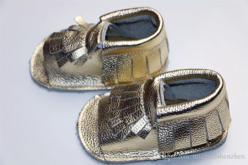 es de cuero de vaca Mocasines infantiles con punta abierta Sandalias de leopardo engrosadas Borlas de bebé EMS Star dot leather 2layer flinge shoes B001