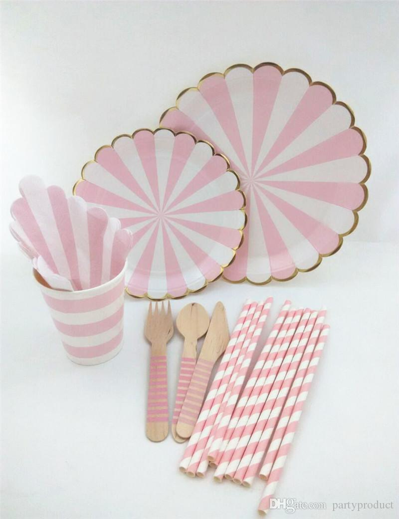 !!! Baby shower Pink Scalloped foil gold eadge Paper Plates Pink Kid's party paper tableware for wedding/Christmas