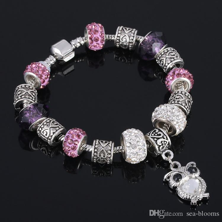 Mother Friendship Bracelet Mix Color Glass Bead Silver-tone Complete Charm Beaded Bracelet Jewelry Valentine Gift D270S