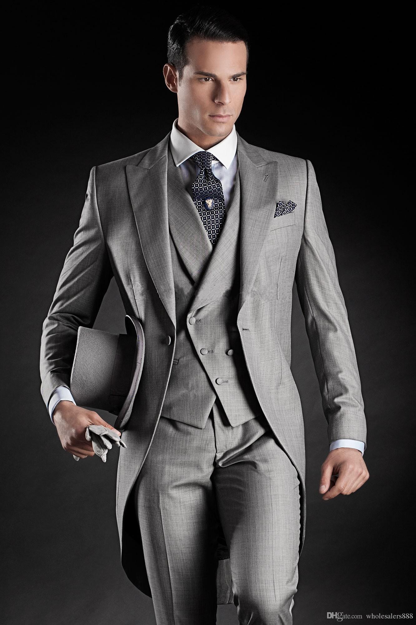 Smoking da sposo su misura Groomsmen stile Morning 14 Best man Peak Risvolto Groomsman da uomo Abiti da sposa giacca + pantaloni + cravatta + gilet