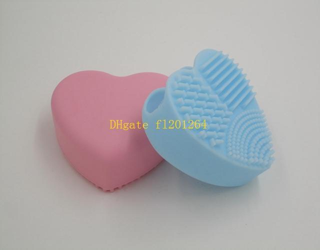 100 adet / grup Ücretsiz Kargo Kalp şekli Makyaj Fırça Temizleyici Silikon Kozmetik Temizleme Aracı Yıkama Fırçası yumurta Brushegg