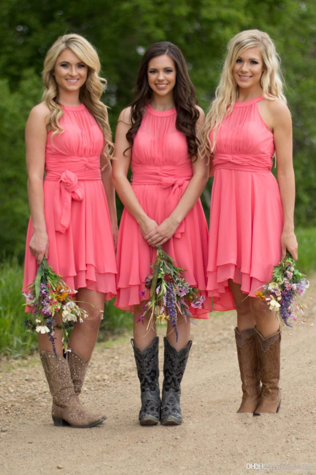 2020 Country Style Short Bridesmaid Dresses Watermelon Royal Blue Light Blue High Low Cheap Halter Neck Ruched Backless Summer Boho Dresses