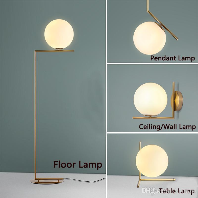 Levou lâmpadas modernas do assoalho Luzes pingentes Lâmpada de mesa Quarto de vidro do quarto da sala de estar da sala de estar