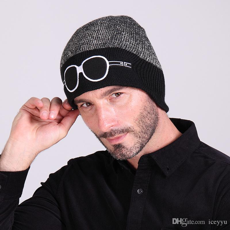 7f0e386584e New Winter Cartoon Embroidered Contrast Color Glasses Knitted Cap ...