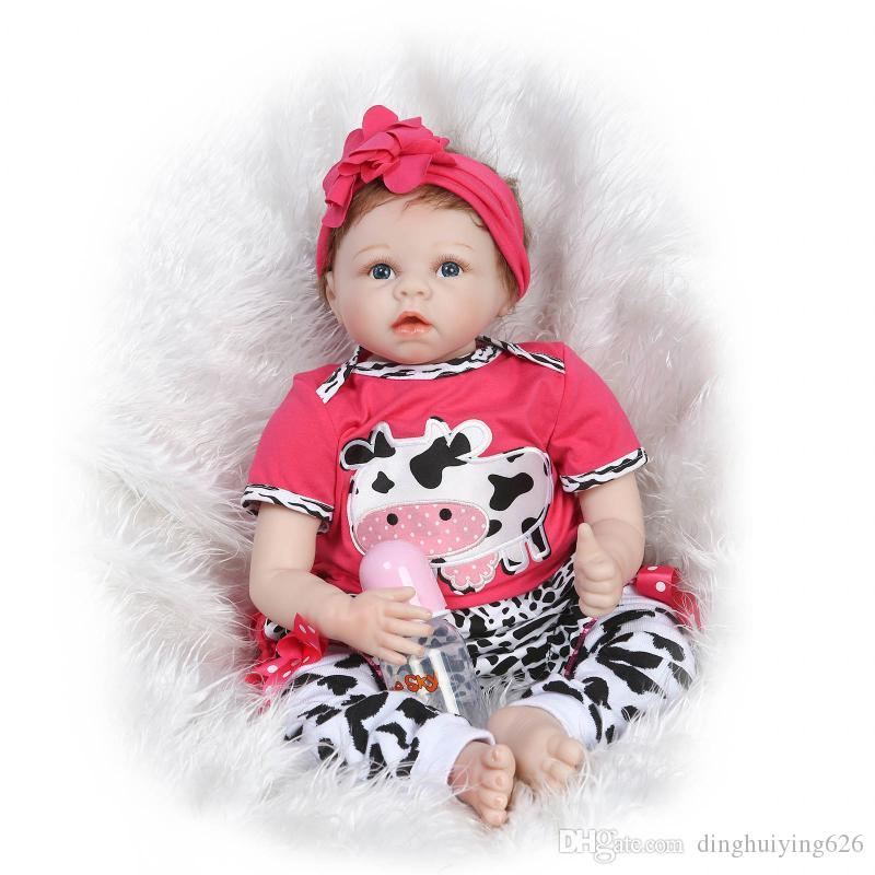 """21"""" Life like Real Baby Doll Girls Boutique Baby Doll Set Birthday Christmas Gift Doll with Pink Cute Cow Clothes"""