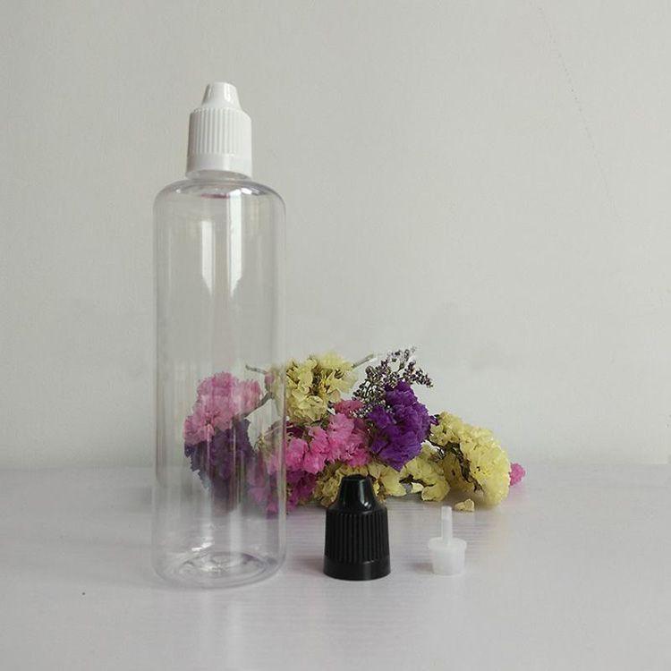 Großhandel 120ml Klare E-Saft-Flasche 4OZ Tropfflasche mit Kind Proof Cap Lange dünne Spitze für Ecig Eliquid Öl