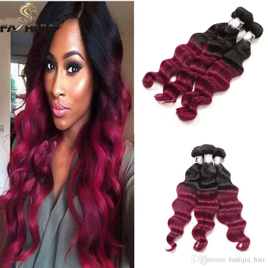 Cheap 3 bundles burgundy red ombre brazilain virgin human hair cheap 3 bundles burgundy red ombre brazilain virgin human hair weft brazilain depp loose wave for black women 100 raw real human hair extension hair weaves pmusecretfo Gallery