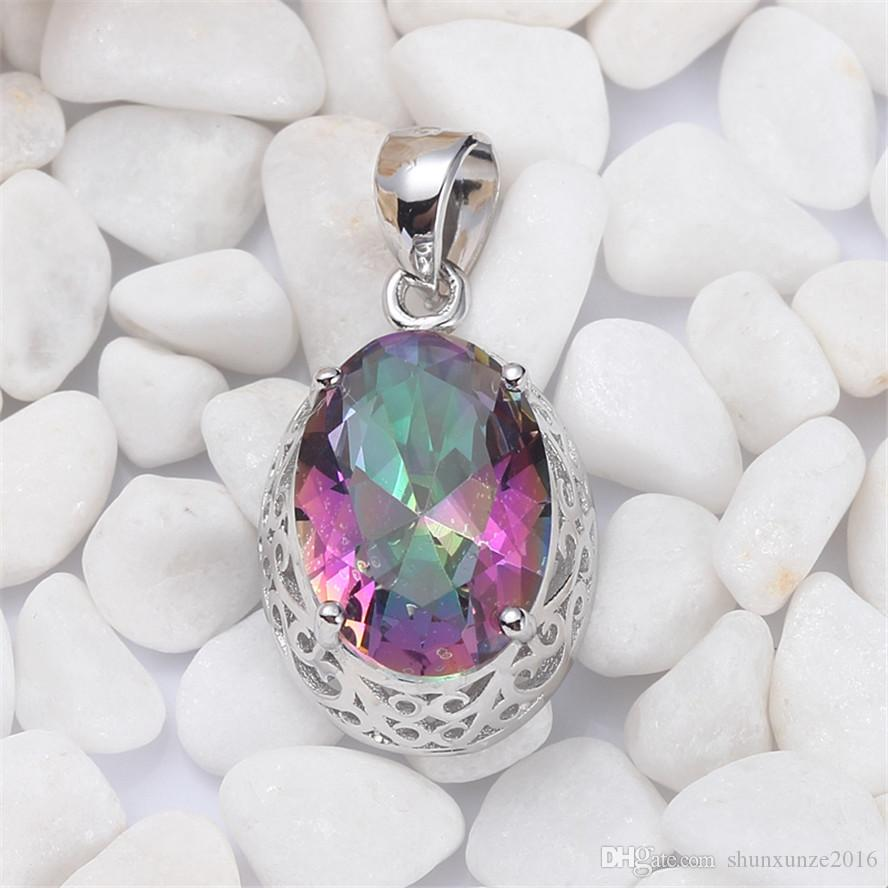 925 sterling silver Romantic Pendants Shinning Noble Generous S-3713 Rainbow Fire Mystic Cubic Zirconia Favourite Best Sellers New Arrivals