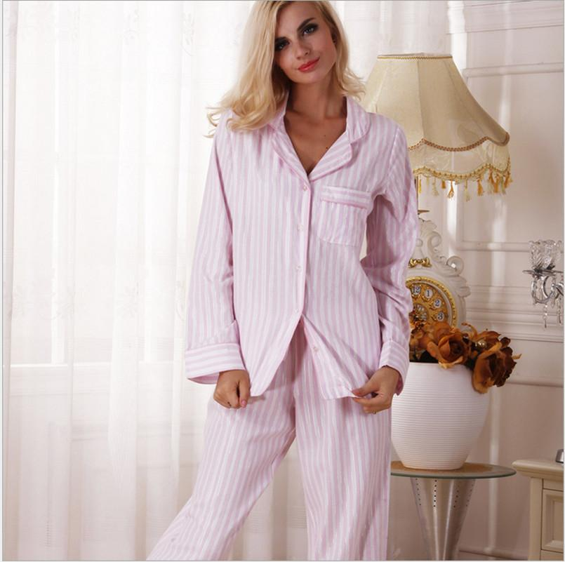 8d9fbbe2742 Autumn Women Cotton Pajama Sets Pink And White Color Stripped European And  American Style Brief Top Quality Pyjamas Canada 2019 From Adidasstore, ...