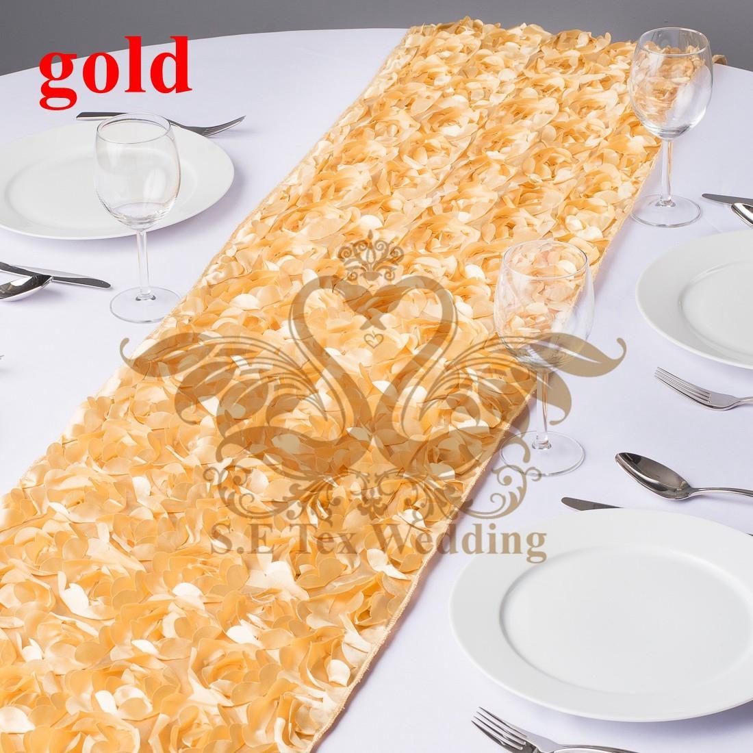 New Design Satin Rosette Table Runner For Wedding Decoration - Gold Color