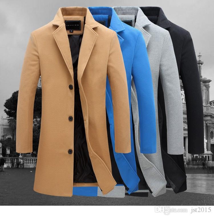 2016 Automne et hiver Fashion Nouveaux hommes Loisirs Slim Trench Coat / Manches longues pour hommes Jeune manteau de poussière de poussière M-5XL FY091