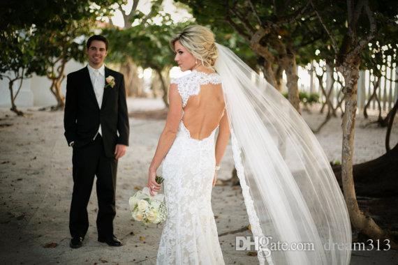 Элегантная новая лучшая распродажа часовня белая слоновая слоновая кружевная аппликация вуаль свадебные части для свадебных платьев мода сплава