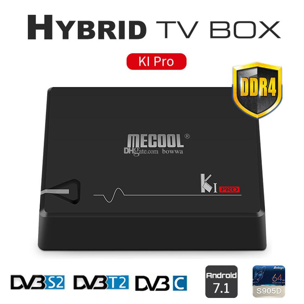 MECOOL KI Pro Android 7 1 DVB-S2&DVB-T2&DVB-C COMBO Smart TV Box 2GB DDR4  16GB Amlogic S905D 64 bit Quad Core KIpro 4K Set-top Box