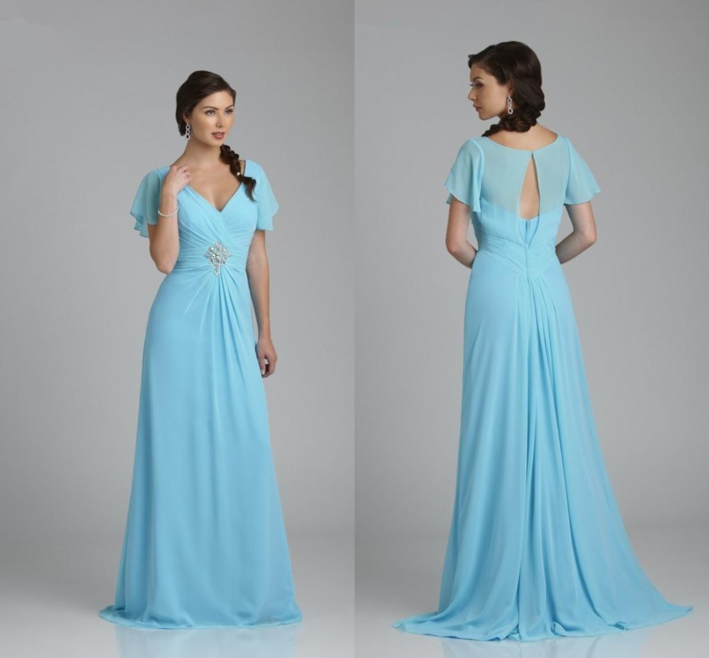 Compre Vestidos Elegante Cuello En V Luz Madre Azul De La Novia De ...