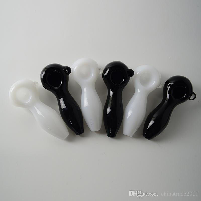 Hand Glass Pipes Black White 4'' inches Oil Burner Pipe Glass Handy Tobacco Pipe Oil Burner Smoking Pipes Portable Spoon Bong Pipe