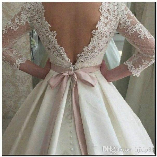 Vintage Lace Winter Fall Wedding Dresses 3 4 Long Sleeve Sheer Illusion Cheap Satin Covered Button Plus Size Bridal Ball Gowns With Belts