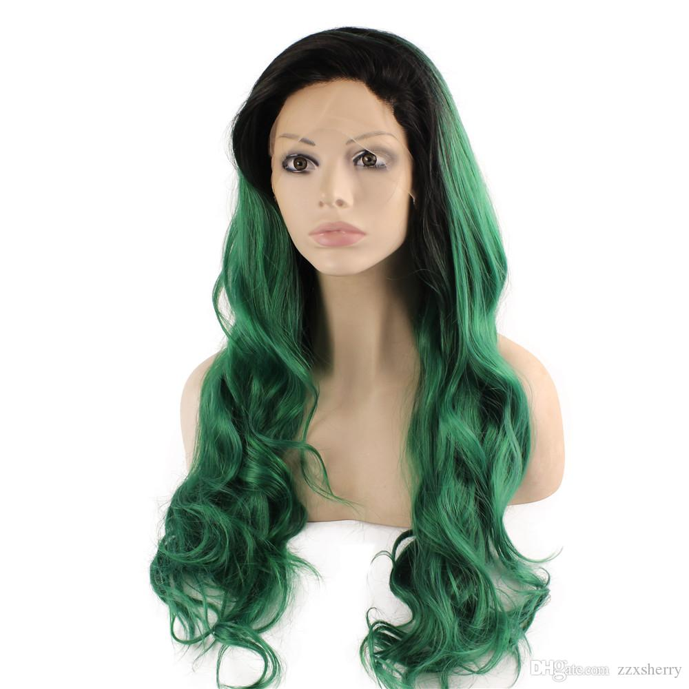 SF5 Front Lace Wig Ombre Dark Root Green Wig, Ombre Synthetic Wavy Wig Green Stylish Kanekalon Party Wig Natural Hairline