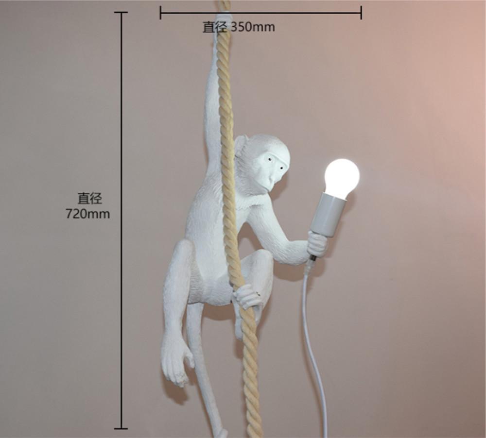 Moderne Affe Deckenleuchte weiße Affe auf einem Seil Decke Pendelleuchte Lampe für den Esszimmer Hotel Wohnkultur