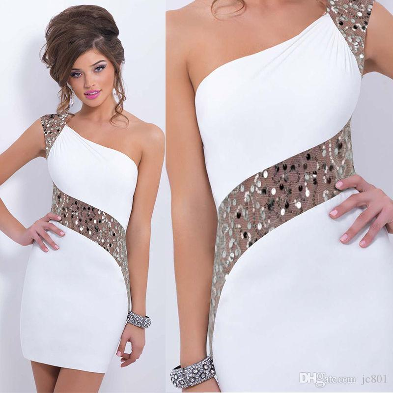 Nuove donne Plus Size Sexy One-spalla paillettes irregolari OL Cocktail Mermaid Prom Backless Warp Dress Mini