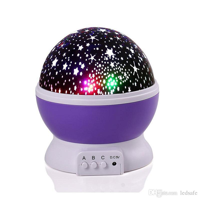 LED Night Lamp Novità Starry Star Moon Light Variabile Proiettore 360 gradi Romantic Rotating LED Effect Bulb vacanza Kids Regali USB